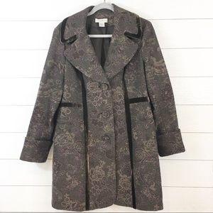 Nine West Wool Brocade & Velvet 3/4 Coat